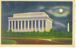 Lincoln Memorial at Night Washington DC Postcard p14889