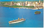 Cruise Ship At Port of Miami FL Postcard p14962