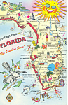 Florida State Map Postcard p15033