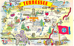 Tennessee State Map Postcard p15040