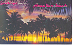 Sunset Through Palms, Hawaii Postcard