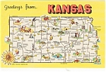 Click here to enlarge image and see more about item p1519: Kansas State Map Postcard