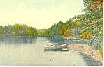 Rowboat on Lake Shore Scenic Postcard