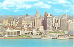 Click here to enlarge image and see more about item p15382: Civic Center and Skyline, Detroit,MI Postcard