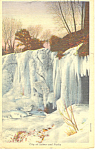 Click here to enlarge image and see more about item p15406:  Minnehaha Falls, MN in Winter Postcard  1946