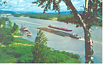 Click here to enlarge image and see more about item p15412: Barges on the Mississippi Postcard