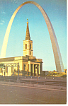 Click here to enlarge image and see more about item p15467: Gateway Arch,Cathedral ,St Louis, MO Postcard