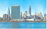 Click here to enlarge image and see more about item p15525: United Nations and NY Skyline Postcard p15525