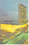 United Nations at Night Postcard  p15526