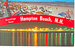 View of Beach,Hampton Beach, NH Postcard 1974