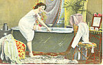Victorian Lady Entering Bathtub Postcard ca 1915
