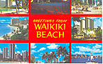 Greetings from from Waikiki Beach Hawaii  Postcard p16279