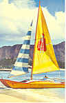 Catamaran at Waikiki Beach Hawaii  Postcard p16285