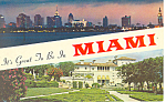 Miami FL Skyline and Viscaya Postcard p16468