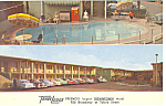 Click here to enlarge image and see more about item p16499: Travelodge,Fresno, CA Postcard Cars 50s
