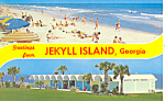 Click here to enlarge image and see more about item p16605: Beach Scene at Jekyll Island GA Postcard p16605