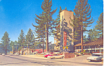 Click here to enlarge image and see more about item p16774: Russell n Pines Motel, Tahoe City, CA Postcard Cars 50s
