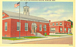 Post Office, Wareham, MA Linen Postcard