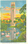Click here to enlarge image and see more about item p16850: Singing Tower at Sunset, Lake Wales Florida Postcard p16850