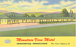 Mountain View Motel  Duncansville  PA Postcard p16983