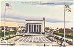 Baltimore MD War Memorial Postcard