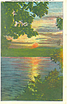 Sunset Cayuga Lake NY  Postcard p17358 1932