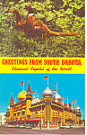 Click here to enlarge image and see more about item p17932: Greetings From SD Corn Palace Postcard Cars 50s