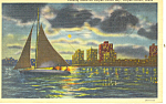 Click here to enlarge image and see more about item p18074: Evening Corpus Christi Bay Texas Postcard p18074