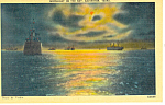 Click here to enlarge image and see more about item p18091: Moonlight on the Bay, Galveston,Texas Postcard