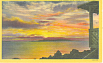 Sunset Over Great Salt Lake UT Postcard 1950