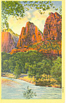 Three Patriarchs Zion National Park UT Postcard p18205