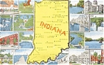 Indiana State Map Postcard