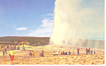 Click here to enlarge image and see more about item p18449: Old Faithful and Inn, Yellowstone National Park WY PC