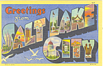 Click here to enlarge image and see more about item p18523: Big Letter Greetings From Salt Lake City Postcard