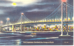 San Francisco Oakland Bay Bridge by night Postcard