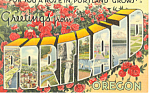 Click here to enlarge image and see more about item p18540: Greetings From Portland,OR Big Letter Postcard p18540