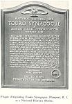 Plaque of Touro Synagogue, Newport, RI Postcard