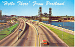 Willamette River, Portland,OR  Postcard Cars 50s