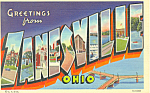 Click here to enlarge image and see more about item p18618: Greetings From Zanesville,OH Big Letter Postcard
