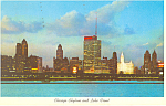 Chicago Skyline and Lake Front at Night Postcard 1960
