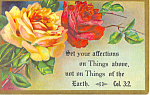 Click here to enlarge image and see more about item p18748: Bible Verse Col. 3:2 Postcard