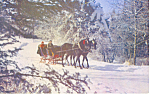 Click here to enlarge image and see more about item p18842A: Horse Drawn Sleigh Winter Scene