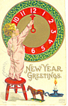 New Year Greeting Small Child with Clock Postcard p18849