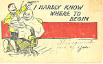 Click here to enlarge image and see more about item p18893: Barber Cutting One Hair Humorous Postcard p18893