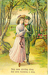 Two Lovers Strolling Along Postcard p1890