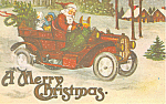 Santa in Old Time Auto Postcard p18909
