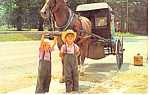 Amish Children with Amish Buggy Postcard p19369