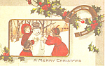 Children Building a Snowman Christmas Postcard p19486