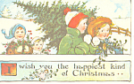Children Bringing Home the Tree Christmas Postcard p19487