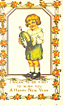 New Years Card Child with Clock Postcard p19494